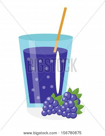 Blackberry juice in a glass. Fresh mulberry juice isolated on white background. Fresh fruit and juice icon. Blackberry drink, fruit compote. Mulberry cocktail. Vector illustration