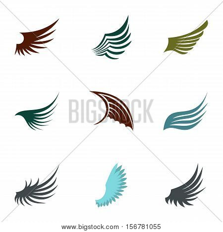 Different wings icons set. Flat illustration of 9 different wings vector icons for web