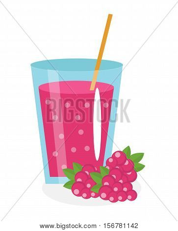 Raspberry juice in a glass. Fresh raspberry juice isolated on white background. Fresh fruit and juice icon. Raspberry drink, fruit compote. Raspberry cocktail. Vector illustration