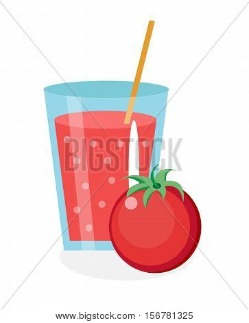 Tomato juice in a glass. Fresh tomato juice isolated on white background. Fresh tomato juice icon. Tomato drink. Tomato cocktail smoothie. Vector illustration