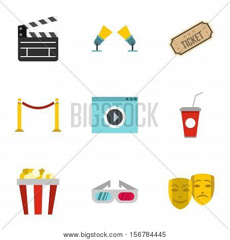 Movie theater icons set. Flat illustration of 9 movie theater vector icons for web