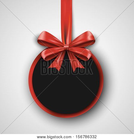Birthday design template. Invitation banner with red bow ribbon. Holiday promotion poster. Vector illustration gift concept eps10