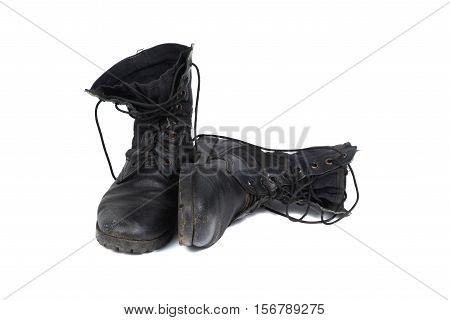 Black Combat Men Boot, Isolated On White Background