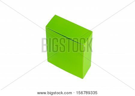 Closed green Box or green paper package box isolated on White background
