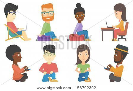 Happy traveling man sitting on suitcase and trying to close it. Young woman sitting on her suitcase while waiting for a trip. Set of vector flat design illustrations isolated on white background.
