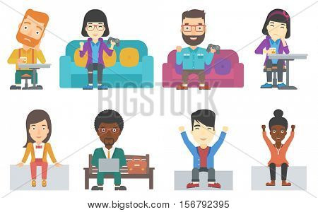 An excited young man with gaming console in hands playing video game at home. Happy gamer sitting on a sofa and playing video game. Set of vector flat design illustrations isolated on white background