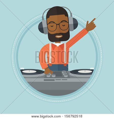 An african-american DJ mixing music on turntables. Young DJ in headphones playing and mixing music on deck. Vector flat design illustration in the circle isolated on background.