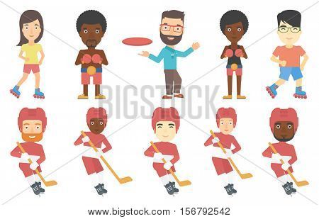 Young ice hockey player skating on ice rink. Happy ice hockey player with a stick and puck. Ice hockey player playing ice hockey. Set of vector flat design illustrations isolated on white background.