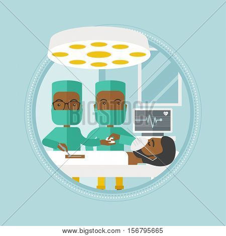 African-american surgeons working in operation theater. Surgeons performing operation in operating room. Surgeons doing operation. Vector flat design illustration in the circle isolated on background.