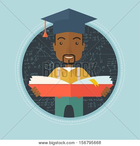 An african graduate reading book. Graduate in graduation cap standing on a background of blackboard with mathematical equations. Vector flat design illustration in the circle isolated on background.
