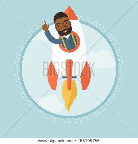 An african-american businessman pointing finger up while flying in business start up rocket. Successful business start up concept. Vector flat design illustration in the circle isolated on background.