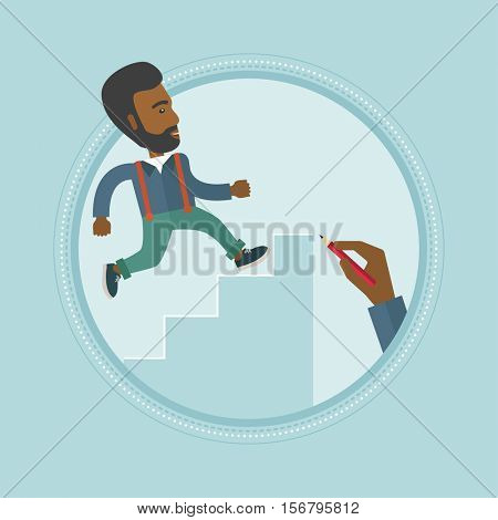 An african-american businessman climbing up the ladder of business career. Man climbing to success. Concept of business career. Vector flat design illustration in the circle isolated on background.