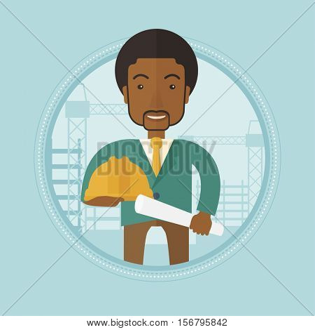 An african engineer with blueprint at construction site. Engineer with twisted blueprint and hard hat checking construction works. Vector flat design illustration in the circle isolated on background.