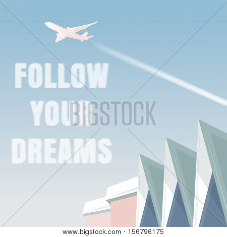 Colored vector illustration of an airplane taking off at the airport today. Minimalism. Follow your dreams. Blue sky silhouette of the aircraft.