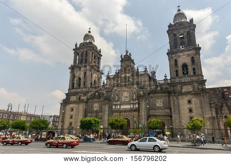 Mexico City Mexico - July 3 2013: Metropolitan Cathedral of the Assumption of Mary of Mexico City.