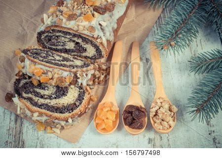 Vintage Photo, Poppy Seeds Cake With Ingredients For Baking And Spruce Branches, Dessert For Christm