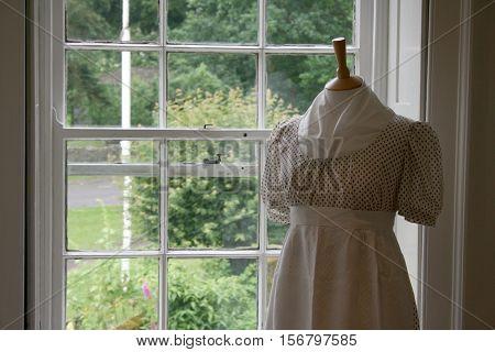 Jane Austen style dress. Chawton House, England.