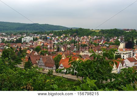 cityview from Memorial of Bombing City on the Wallberg Rubble Hill in Pforzheim, Germany, Gold City in the Black Forest