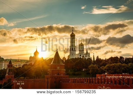 Beautiful Sunset Over The Kremlin In Moscow