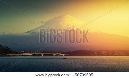 Mt. Fuji Japan at Lake Kawaguchi after sunset.
