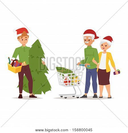 Collection going shopping people christmas celebrate with shopping bags. Shopping people woman and man with bags in Santa red hats. Shopping people collection, Xmas tree, family shopping and sale days