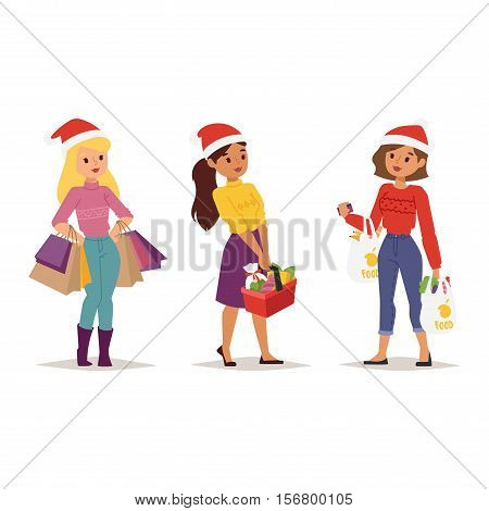 Collection going shopping people christmas celebrate with shopping bags. Shopping people woman girl with bags in Santa red hats. Shopping people collection, Xmas tree, family shopping and sale days