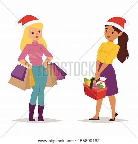 Collection going shopping girl christmas celebrate with shopping bags. Shopping people woman girl with bags in Santa red hats. Xmas tree, family shopping and sale days