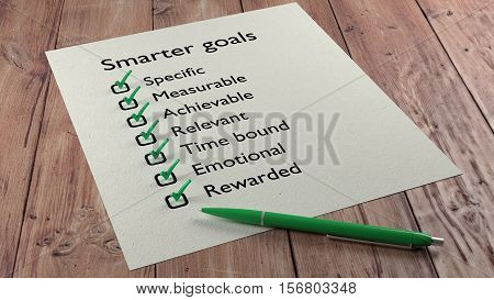 Advanced goal setting concept with the words specific measurable achievable relevant time bound emotional and rewarded on a paper checklist and a green ball pen 3D illustration