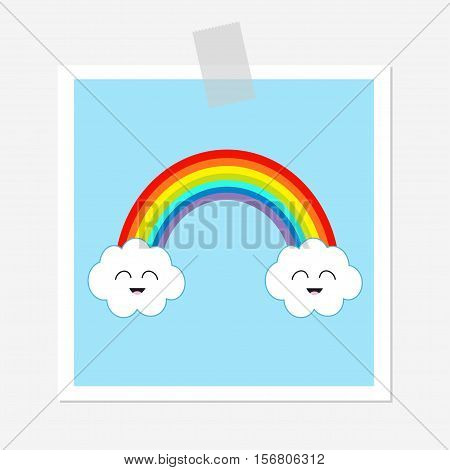 Rainbow and two white clouds. Smiling face emotion. Cute cartoom kawaii character. LGBT sign symbol. Flat design. Blue sky background. Greeting card. Adhesive transparency tape. Vector