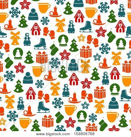 Stock vector seamless of winter and Christmas elements
