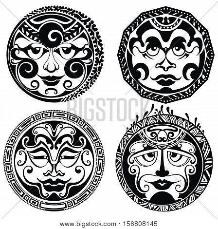Set of polynesian tattoo styled masks.Tattoo masks