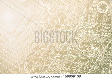 Technology Concept Background Silhouette Of A Computer Motherboard With Light Yellow Colors, Suitabl
