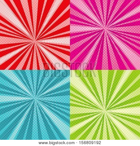 Sunburst rays comic pop art vector backgrounds set with halftone raster gradients. Set of colored sunburst pop art, illustration of pattern pop art book