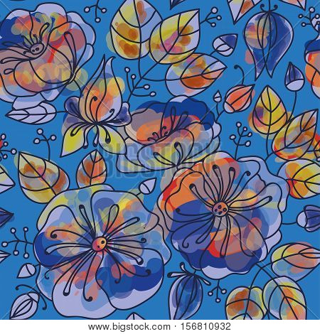 Floral seamless pattern - anemones. Stylized watercolor technique.