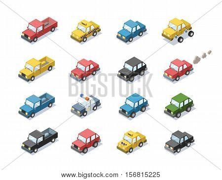 Vector isometric set of city passenger transport, car, taxi, police, minivan, cat with exhaust, 3D flat design, cartoon cute car icons