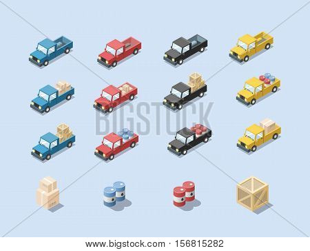 Vector isometric set of wagon car with cargo, barrels, minivan, trucks for cargo transportation, delivery car icon, 3D flat business illustration, carton boxes, cargo icon