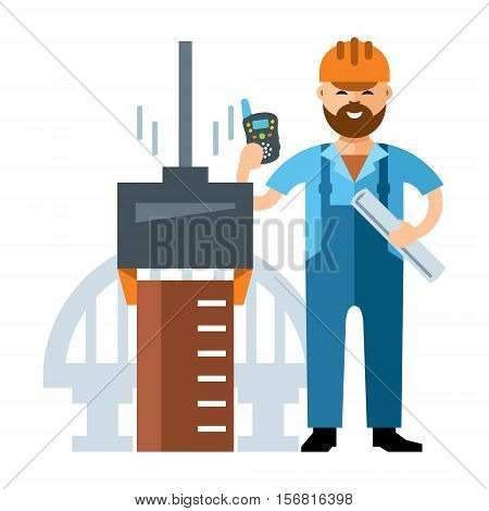 Driving of piles. Engineer with a plan and intercom in the hands. Isolated on a white background
