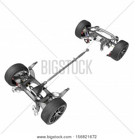 Render of car chassis without engine isolated on white background. 3D illustration