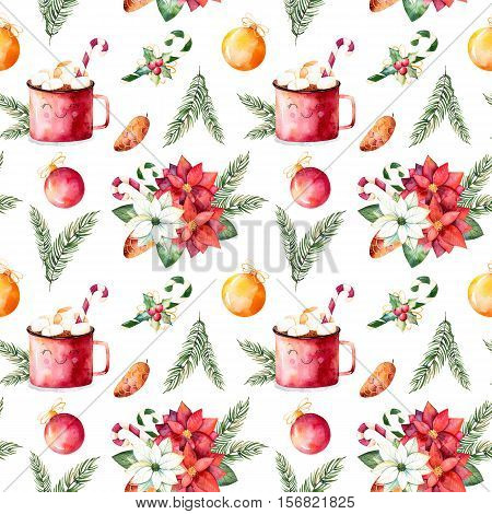 Handpainted watercolor seamless texture with winter bouquet,candy,mug of hot chocolate,pinecone,Christmas balls etc.