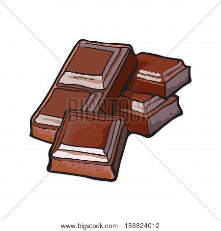Pieces of dark chocolate bar, sketch style vector illustration isolated on white background. Hand drawn chocolate bar broken into pieces, appetizing realistic drawing