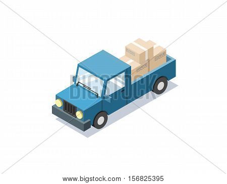 Vector isometric blue wagon car with boxes, minivan, trucks for cargo transportation, delivery car icon, 3D flat business illustration