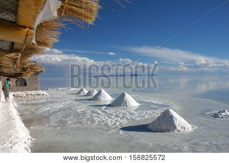 hills of salt in the salt flats of salar de Uyuni Bolivia