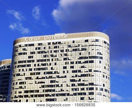 PARIS FRANCE - SEPTEMBER 29 2015: Coeur Defense is an office skyscraper in La Defense business district in Paris France