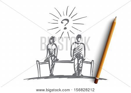 Vector hand drawn chess couple question concept sketch with pencil over it. Man and woman sitting on bench with space between them