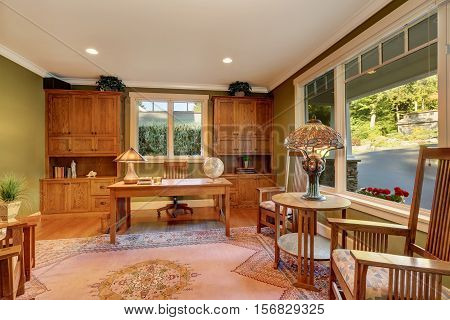 Large Home Office Interior With Green Olive Walls