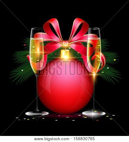 dark festive background with the large red ball and couple glasses of wine