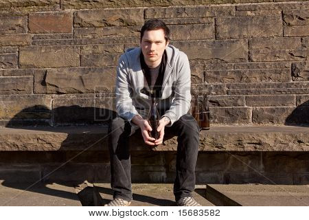 Young Guy With Alcohol And Nicotine