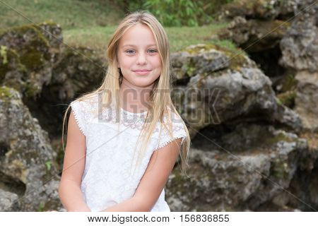 Blond Young Girl Teen Outside Smiling At Camera