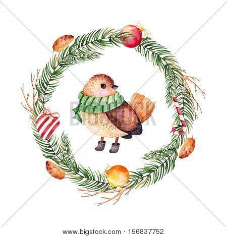 Bright wreath with leaves,branches,Christmas balls,candy,heart,pinecones and cute bird.