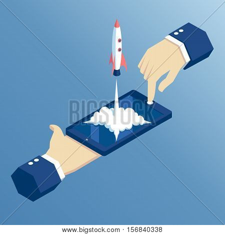 launch of a mobile application is an isometric illustration. takeoff rocket or spacecraft over the mobile phone. hands holding smartphone with which the spaceship starts isometric concept startup